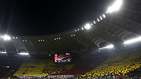 Football, Serie A: AS Roma - S.S. Lazio, Olympic stadium, Rome, January 26, 2020. <br /> AS Roma fans unfurl a giant tifo prior to the Italian Serie A football match between Roma and Lazio at Olympic stadium in Rome, on January,  26, 2020. <br /> UPDATE IMAGES PRESS/Isabella Bonotto