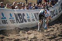 U23 CX World Champion Eli Yserbyt (BEL/U23/Marlux-Napoleon Games) descending into the infamous 'Pit' during the U23 mens race<br /> <br /> CX Superprestige Zonhoven 2016