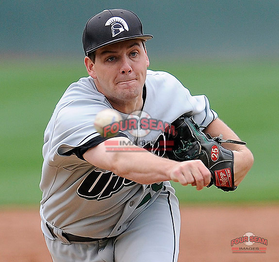 Photo of the University of South Carolina Upstate Spartans in a game against the Connecticut Huskies on Saturday, March 14, 2015, at Fluor Field at the West End in Greenville, South Carolina. Connecticut won, 7-3. (Tom Priddy/Four Seam Images)