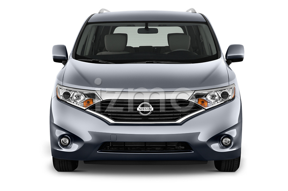 Car photography straight front view of a 2017 Nissan Quest SV 5 Door Minivan Front View