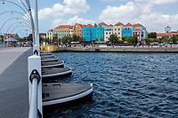 Willemstad, Curacao, Lesser Antilles.  Queen Emma Pontoon Bridge Looking toward Otrobanda.