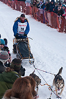 Linwood Fiedler team leaves the start line during the restart day of Iditarod 2009 in Willow, Alaska