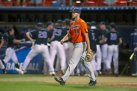 Cal State Fullerton Titans Brett Conine (18) returns to the mound after giving up the tying run in the bottom of the ninth inning at Goodwin Field on June 10, 2018 in Fullerton, California. The Huskies defeated the Titans 6-5. (Donn Parris/Four Seam Images)