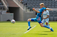 LOS ANGELES, CA - MAY 29: Keaton Parks #55 of NYCFC reached for a loose ball during a game between New York City FC and Los Angeles FC at Banc of California Stadium on May 29, 2021 in Los Angeles, California.
