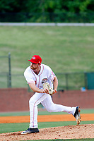 Greeneville Reds pitcher Doug Norman (23) on the mound during a game against the Bristol Pirates at Pioneer Field on June 20, 2018 in Greeneville, Tennessee. Bristol defeated Greeneville 11-0. (Robert Gurganus/Four Seam Images)