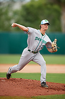 Daytona Tortugas starting pitcher Ryan Olson (20) delivers a pitch during a game against the Florida Fire Frogs on April 7, 2018 at Osceola County Stadium in Kissimmee, Florida.  Daytona defeated Florida 4-3 in a six inning rain shortened game.  (Mike Janes/Four Seam Images)
