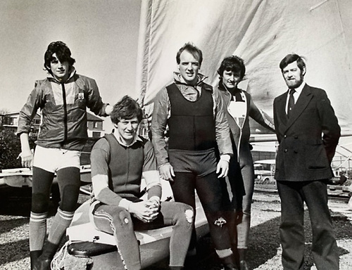 the 1982 Irish Laser Class, with their mentor Ron Huthcieson on right, are (left to right) Simon Brien (later multiple Edinburgh Cup winner and other majors), multiple champion Charlie Taylor (still at it in the Laser Masters), Olympian Bill O'Hara, and Dave Cummins, All-Ireland Helmsmans Champion 1981 and 1982