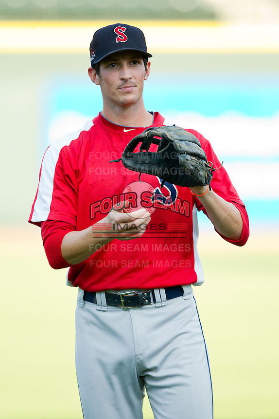 Stefan Welch (30) of the Salem Red Sox warms up in the outfield prior to the game against the Winston-Salem Dash at BB&T Ballpark on August 15, 2013 in Winston-Salem, North Carolina.  The Red Sox defeated the Dash 2-1.  (Brian Westerholt/Four Seam Images)