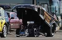 Feb. 16, 2013; Pomona, CA, USA; NHRA funny car driver Tony Pedregon sports crushed headers after hitting the retaining wall during qualifying for the Winternationals at Auto Club Raceway at Pomona.. Mandatory Credit: Mark J. Rebilas-