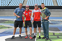 October 24, 2018: MotoGP riders Andrea Dovizioso and Jack Miller play tennis with Francois Vogelsberger and Lleyton Hewitt of Tennis Australia at Melbourne Park before the 2018 MotoGP of Australia to be held at Phillip Island Grand Prix Circuit, Victoria, Australia. Photo Sydney Low