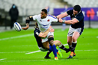 26th March 2021, Stade de France, Saint-Denis, France; Guinness 6-Nations international rugby, France versus Scotland;  Virimi Vakatawa (Fra) offloads as he is tackled by Ryan Wilson (Sco)