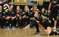 Ella Aprea (15) of Bentonville hitting ball on Thursday, Oct.  7, 2021, during play at Tiger Arena in Bentonville. Visit nwaonline.com/211008Daily/ for today's photo gallery.<br /> (Special to the NWA Democrat-Gazette/David Beach)