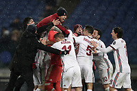 Football Soccer: Tim Cup semi-final second Leg, SS Lazio vs AC Milan, Stadio Olimpico, Rome, Italy, February 28, 2018.<br /> Milan's coach Gennaro Gattuso (l) celebrates with his players after winning the Tim Cup semi-final football match against SS Lazio at Rome's Olympic stadium, February 28, 2018.<br /> UPDATE IMAGES PRESS/Isabella Bonotto