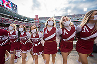 Arkansas cheerleaders sway, Saturday, October 17, 2020 during Arkansas' 33-21 win over Ole Miss at Donald W. Reynolds Razorback Stadium in Fayetteville. Check out nwaonline.com/201018Daily/ for today's photo gallery. <br /> (NWA Democrat-Gazette/Charlie Kaijo)