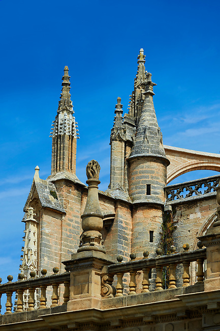 Gothic architectural detail of the Seville Cathedral, Spain