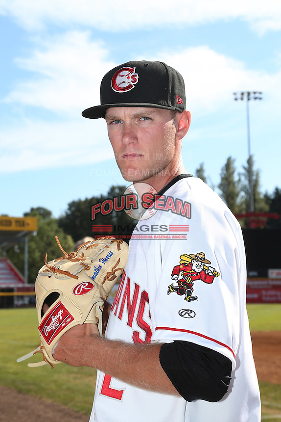 Jon Harris (32) of the Vancouver Canadians poses for a photo before a game against the Tri-City Dust Devils at Nat Bailey Stadium on July 23, 2015 in Vancouver, British Columbia, Canada. Tri-City defeated Vancouver, 6-4. (Larry Goren/Four Seam Images)