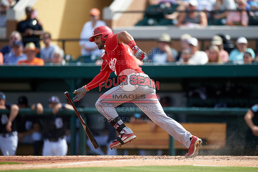Florida Southern Moccasins left fielder Dominic Brugnoni (24) at bat during an exhibition game against the Detroit Tigers on February 29, 2016 at Joker Marchant Stadium in Lakeland, Florida.  Detroit defeated Florida Southern 7-2.  (Mike Janes/Four Seam Images)