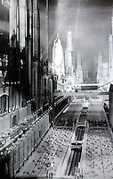"""Utopia:  The City of the Future, a set for JUST IMAGINE, 1930--a comedy about New York as it might be in 1980. """"The City in Film""""--DESIGN QUARTERLY 136."""