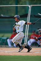 GCL Pirates designated hitter Mikell Granberry (31) follows through on a swing during a game against the GCL Braves on July 27, 2017 at ESPN Wide World of Sports Complex in Kissimmee, Florida.  GCL Braves defeated the GCL Pirates 8-6.  (Mike Janes/Four Seam Images)