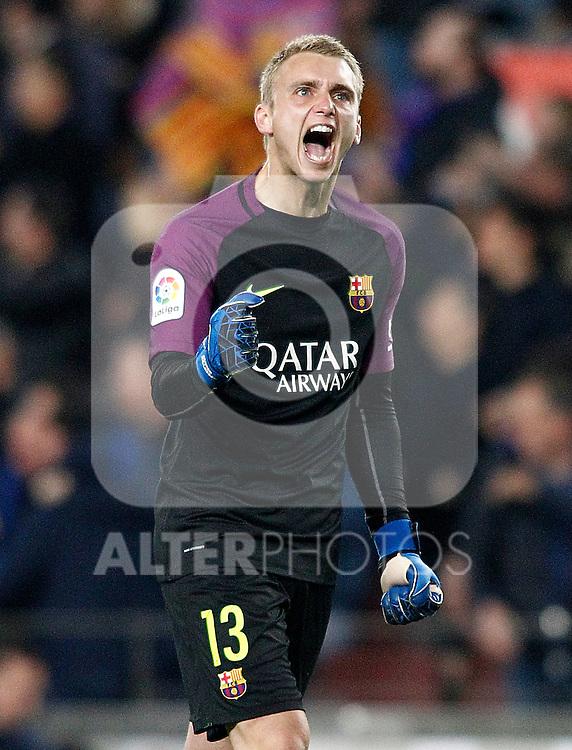 FC Barcelona's Jasper Cillessen celebrates goal during Spanish Kings Cup semifinal 2nd leg match. February 07,2017. (ALTERPHOTOS/Acero)