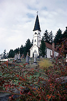 St. Ann's Church and Cemetery at Quamichan, Cowichan Valley, Vancouver Island, British Columbia, Canada