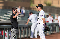 Salt River Rafters first baseman Tyler Nevin (2), of the Colorado Rockies organization, is interviewed for MiLB.com after an Arizona Fall League game against the Surprise Saguaros at Salt River Fields at Talking Stick on October 23, 2018 in Scottsdale, Arizona. Salt River defeated Surprise 7-5 . (Zachary Lucy/Four Seam Images)