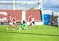 10th October 2020; Sixfields Stadium, Northampton, East Midlands, England; English Football League One, Northampton Town versus Peterborough United; Nathan Thompson shoots to give Peterborough the lead in the 33rd minute
