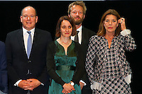 - NO TABLOIDS, NO SITE WEB - Winners Evening of the Prince Pierre of Monaco Foundation at the Opera Garnier, Monaco. H.S.H. Prince Albert II of Monaco and H.R.H. Princess Caroline of Hanover attend the ceremony and Princess Caroline gives two literary prizes : the Literary Prize to Adonis for his whole work and the 'Bourse de la DÈcouverte' to Paul Greveillac for his book 'Les 'mes Rouges'. H.S.H. Prince Albert II of Monaco, Catherine Dousteyssier- Khoze, Johannes-Maria Staud, H.R.H. Princess Caroline of Hanover.