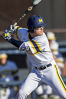 Michigan Wolverines shortstop Michael Brdar (9) at bat against the Central Michigan Chippewas on March 29, 2016 at Ray Fisher Stadium in Ann Arbor, Michigan. Michigan defeated Central Michigan 9-7. (Andrew Woolley/Four Seam Images)
