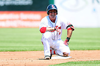Humberto Quintero (40) of the Pawtucket Red Sox sits on second base during a game versus the Scranton/Wilkes-Barre RailRiders at McCoy Stadium on May 27, 2015 in Pawtucket, Rhode Island. (Ken Babbitt/Four Seam Images)