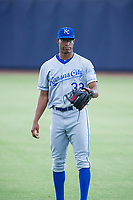AZL Royals Michael Austin (32) warms up in the outfield prior to the game against the AZL Mariners on July 29, 2017 at Peoria Stadium in Peoria, Arizona. AZL Royals defeated the AZL Mariners 11-4. (Zachary Lucy/Four Seam Images)