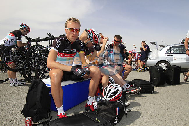 Radioshack-Nissan Trek riders including Joost Posthuma (NED) chill out before the start of Stage 4 of the 2012 Tour of Qatar from Al Thakhira to Madinat Al Shamal, Qatar. 8th February 2012.<br /> (Photo Eoin Clarke/Newsfile)