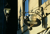 Montreal (Qc) CANADA - Jan 2000- <br /> OLd luminary and a coffee shop display in Old-Montreal
