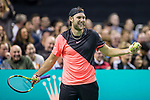 March 05, 2018: Jack Sock (USA) interacts with the crowd during his match against Roger Federer (SUI) at The Match for Africa 5 Silicon Valley played at the SAP Center in San Jose, California. ©Mal Taam/TennisClix