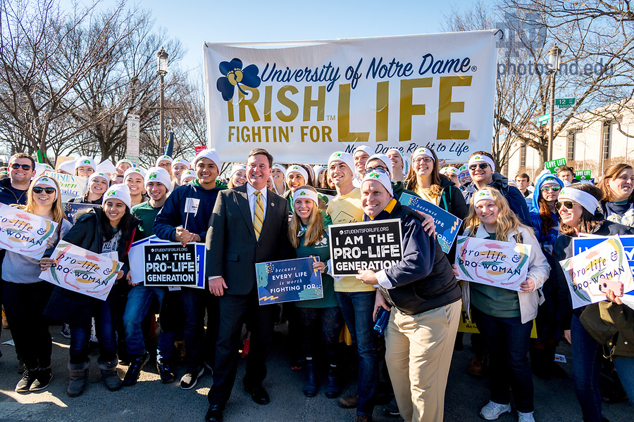 January 19, 2018; Indiana congressman Rep. Todd Rokita poses for a photo with Notre Dame students at the March for Life in Washington D.C.. (Photo by Matt Cashore/University of Notre Dame)