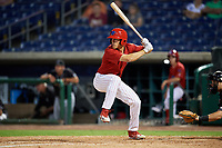 Clearwater Threshers left fielder Adam Haseley (17) at bat during a game against the Jupiter Hammerheads on April 12, 2018 at Spectrum Field in Clearwater, Florida.  Jupiter defeated Clearwater 8-4.  (Mike Janes/Four Seam Images)