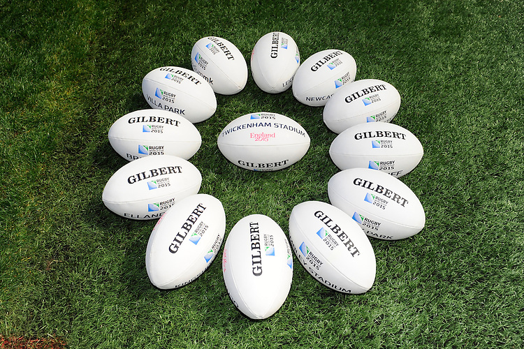 The Gilbert match balls on view during the Rugby World Cup 2015 Venues and Match Schedule Launch at Twickenham Stadium on Thursday 2nd May 2013 (Photo by Rob Munro)