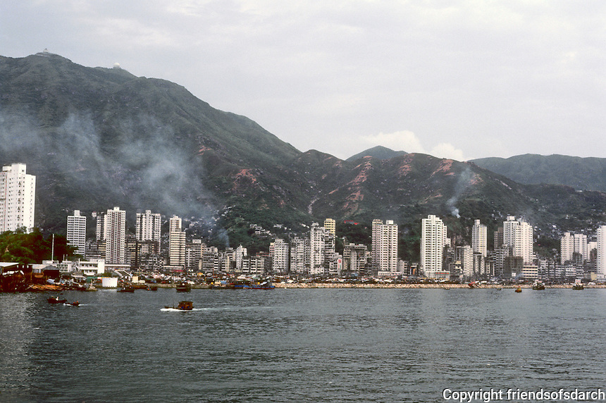 Hong Kong: Downtown Skyline from ship. Photo '81.