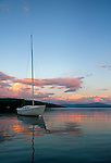 Anchored sailboat on Rangeley Lake, Rangeley, Maine, USA