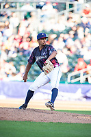 Northwest Arkansas Naturals pitcher Gerson Garabito (15) delivers a pitch on May 4, 2019, at Arvest Ballpark in Springdale, Arkansas. (Jason Ivester/Four Seam Images)