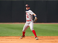 Champagnat Catholic Lions shortstop Christopher Martinez (12) during the IMG National Classic on March 29, 2021 at IMG Academy in Bradenton, Florida.  (Mike Janes/Four Seam Images)