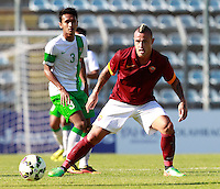 "Calcio, amichevole Roma vs Under 23 Indonesia. Rieti, stadio ""Manlio Scopigno"", 18 luglio 2014. <br /> AS Roma midfielder Radja Nainggolan, of Belgium, in action during the friendly football match between AS Roma and Under 23 Indonesia at ""Manlio Scopigno"" stadium in Rieti, Italy, 18 July 2014.<br /> UPDATE IMAGES PRESS/Isabella Bonotto"