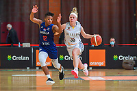 Yvonne Anderson (12) of Serbia and Julie Vanloo (35) of Belgium pictured during a basketball game between the national teams of Belgium , called the Belgian Cats , and Serbia on Friday 28 th of May 2021 in Kortrijk , Belgium . PHOTO SPORTPIX.BE | SPP | STIJN AUDOOREN