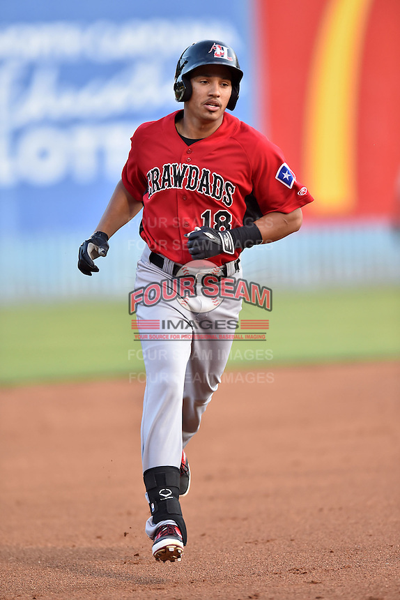 Hickory Crawdads right fielder Luke Tendler (18) rounds the bases after hitting a home run during the South Atlantic League All Star Game on June 23, 2015 in Asheville, North Carolina. The North Division defeated the South 7-5(Tony Farlow/Four Seam Images)