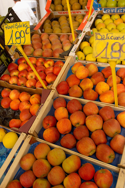 Fruit & Vegetable Stall -apples -  Market - Chioggia - Venice Italy