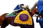 November 2, 2018: Line Of Duty #5, ridden by William Buick, wins the Juvenile Turf on Breeders' Cup World Championship Friday at Churchill Downs on November 2, 2018 in Louisville, Kentucky. Kaz Ishida/Eclipse Sportswire/CSM