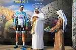 Omega Pharma-Quick Step rider Tom Boonen (BEL) retains the leaders yellow jersey at the end of the 2nd Stage of the 2012 Tour of Qatar a team time trial at Lusail Circuit, Doha, Qatar, 6th February 2012 (Photo Eoin Clarke/Newsfile)