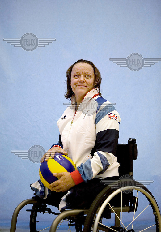 Martine Wright in training with Team GB's Paralympic Women's sitting Volleyball squad at The University of Bath.