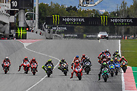 27th September 2020, Circuit de Barcelona Catalunya, Barcelona, MotoGp of Catalunya, Race Day; The riders take off from grid and ready to enter turn 1