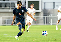 WASHINGTON, DC - SEPTEMBER 6: Virginia defender Oliver Gerbig (5) makes a pass during a game between University of Virginia and University of maryland at Audi Field on September 6, 2021 in Washington, DC.